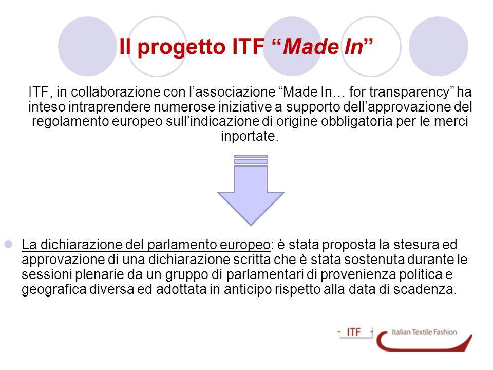 """ITF, in collaborazione con l'associazione """"Made In… for transparency"""" ha inteso intraprendere numerose iniziative a supporto dell'approvazione del reg"""
