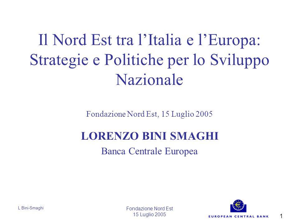 L Bini-Smaghi Fondazione Nord Est 15 Luglio 2005 12 Costo del lavoro per unità di prodotto 1995=100 Fonte: Commissione Europea
