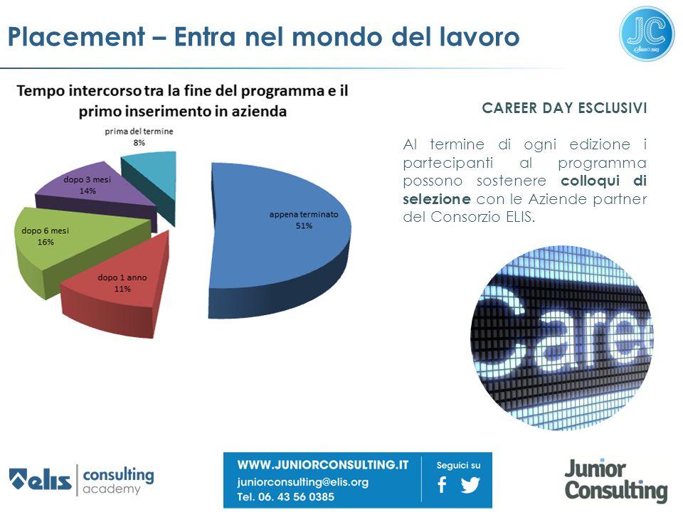 Placement – Entra nel mondo del lavoro CAREER DAY ESCLUSIVI Al termine di ogni edizione i partecipanti al programma possono sostenere colloqui di sele
