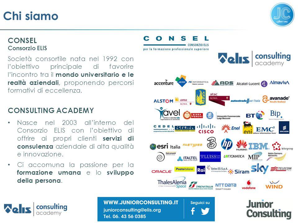 Chi siamo CONSEL Consorzio ELIS Società consortile nata nel 1992 con l'obiettivo principale di favorire l'incontro tra il mondo universitario e le rea
