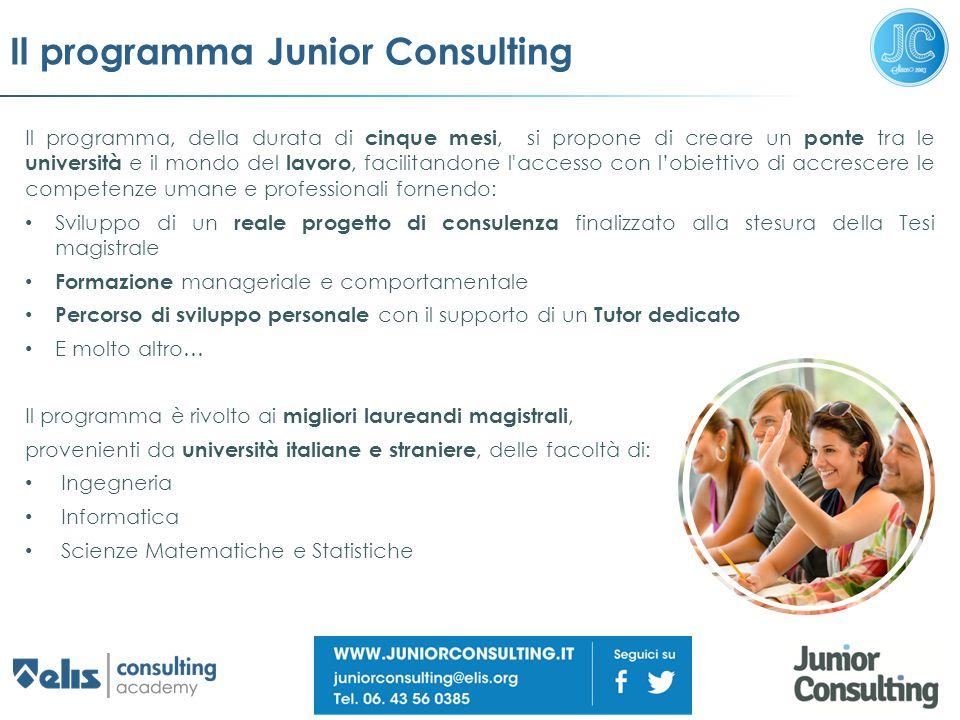Il programma Junior Consulting Il programma, della durata di cinque mesi, si propone di creare un ponte tra le università e il mondo del lavoro, facil