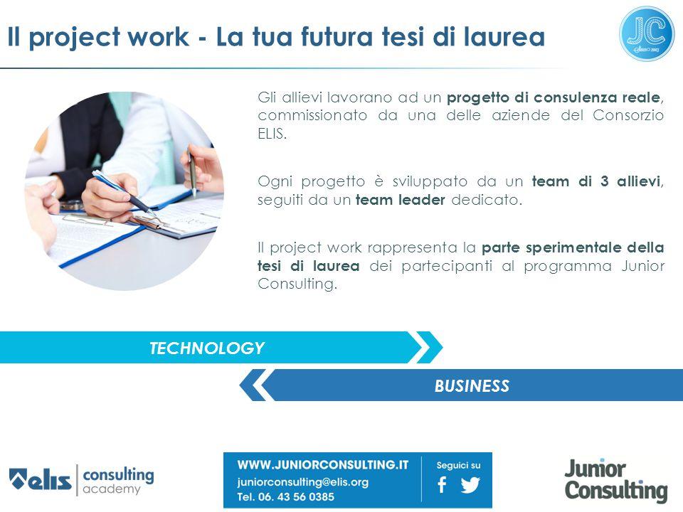 Il project work - La tua futura tesi di laurea Gli allievi lavorano ad un progetto di consulenza reale, commissionato da una delle aziende del Consorz