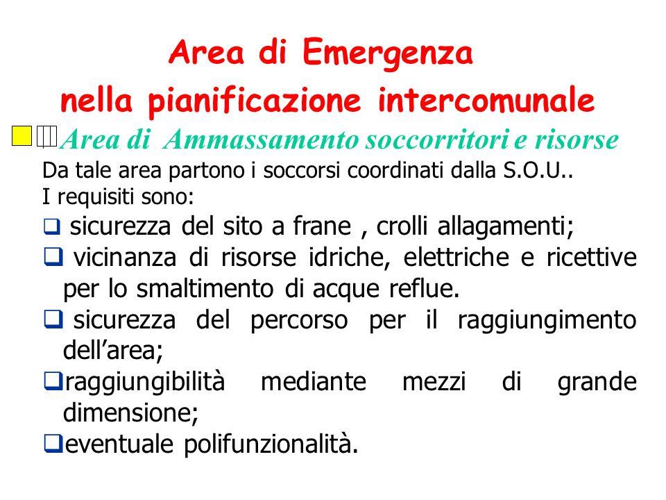 Area di Ammassamento soccorritori e risorse Da tale area partono i soccorsi coordinati dalla S.O.U..