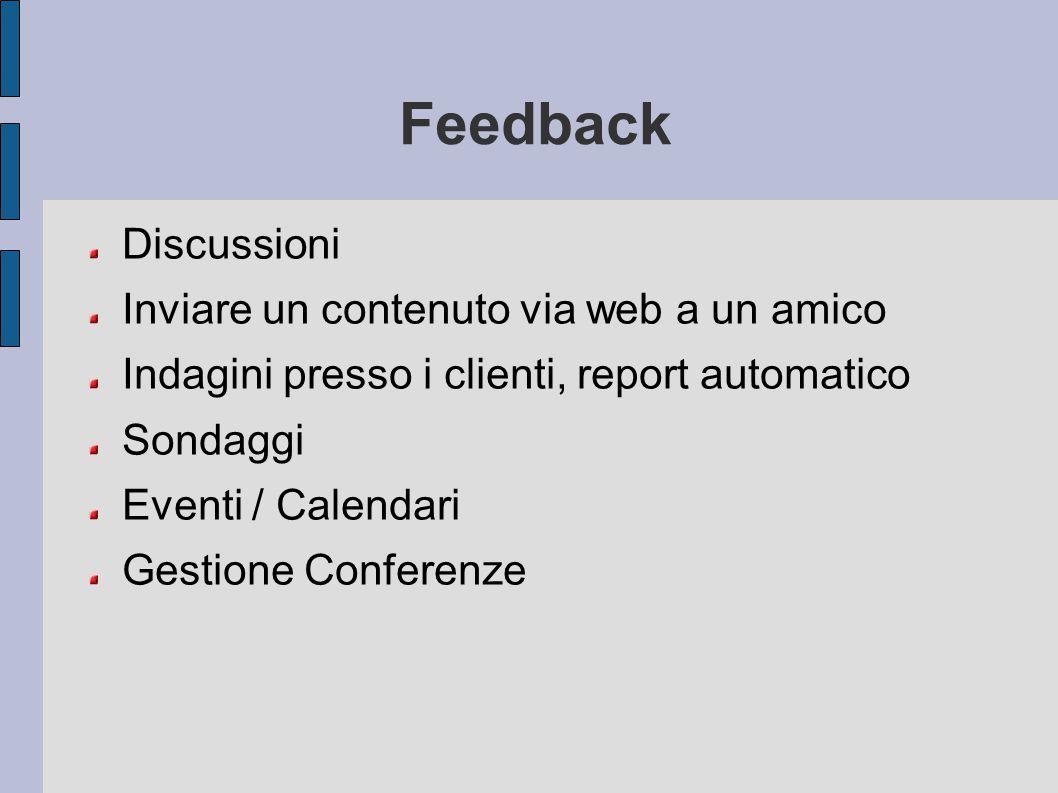 Feedback Discussioni Inviare un contenuto via web a un amico Indagini presso i clienti, report automatico Sondaggi Eventi / Calendari Gestione Confere