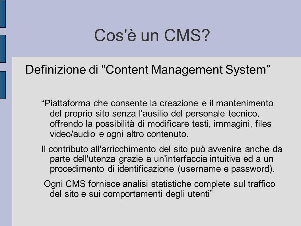 """Cos'è un CMS? Definizione di """"Content Management System"""" """"Piattaforma che consente la creazione e il mantenimento del proprio sito senza l'ausilio del"""