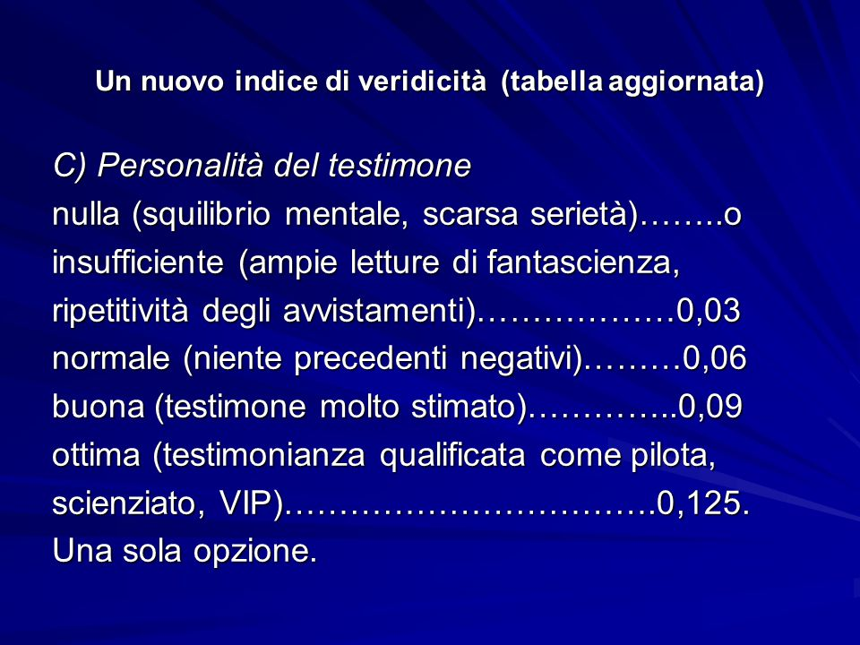 Un nuovo indice di veridicità (tabella aggiornata) C) Personalità del testimone nulla (squilibrio mentale, scarsa serietà)……..o insufficiente (ampie letture di fantascienza, ripetitività degli avvistamenti)………………0,03 normale (niente precedenti negativi)………0,06 buona (testimone molto stimato)…………..0,09 ottima (testimonianza qualificata come pilota, scienziato, VIP)…………………………….0,125.