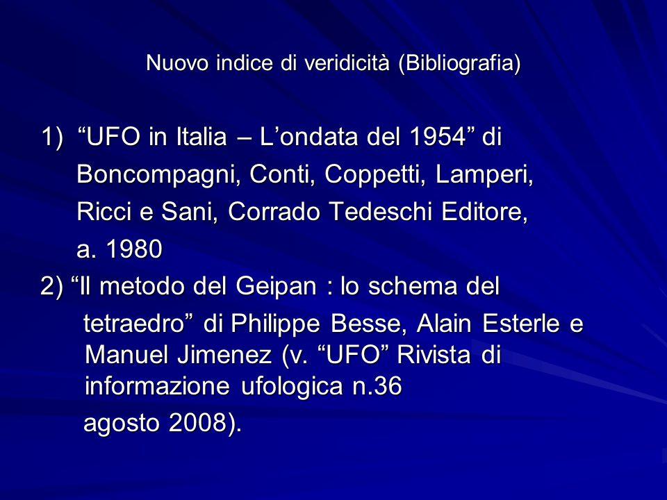 Nuovo indice di veridicità (Bibliografia) 1) UFO in Italia – L'ondata del 1954 di Boncompagni, Conti, Coppetti, Lamperi, Boncompagni, Conti, Coppetti, Lamperi, Ricci e Sani, Corrado Tedeschi Editore, Ricci e Sani, Corrado Tedeschi Editore, a.