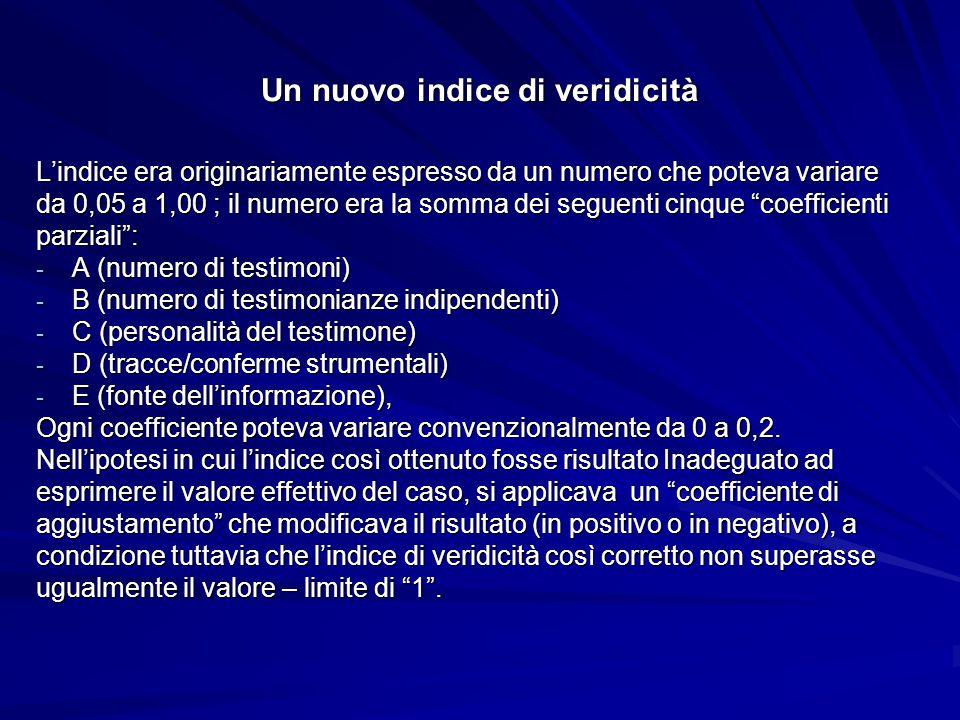 Un nuovo indice di veridicità L'indice era originariamente espresso da un numero che poteva variare da 0,05 a 1,00 ; il numero era la somma dei seguenti cinque coefficienti parziali : - A (numero di testimoni) - B (numero di testimonianze indipendenti) - C (personalità del testimone) - D (tracce/conferme strumentali) - E (fonte dell'informazione), Ogni coefficiente poteva variare convenzionalmente da 0 a 0,2.