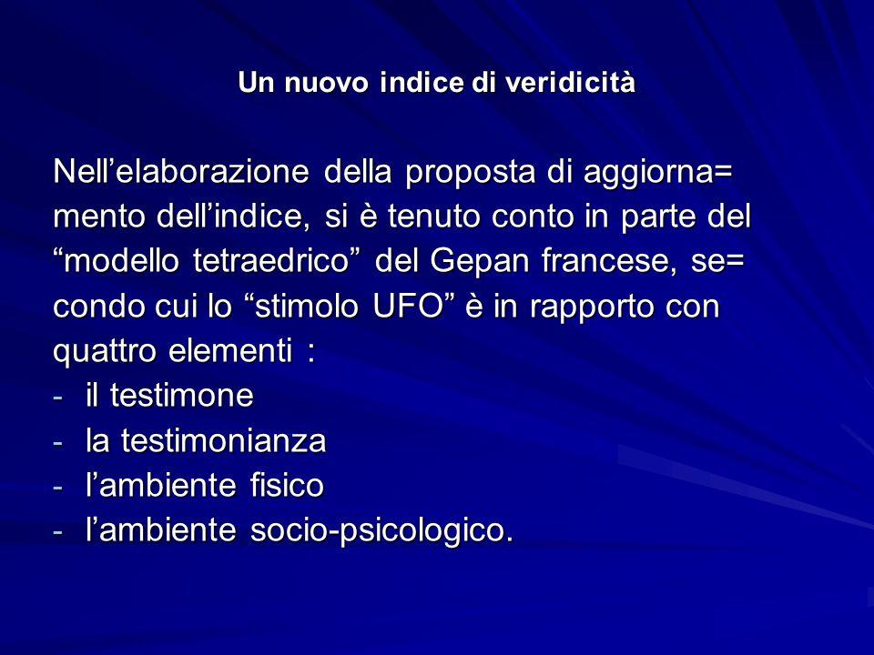 Nuovo indice di veridicità Si ringrazia per la cortese collaborazione il Socio del CUN Puglia Marco Lezzi.