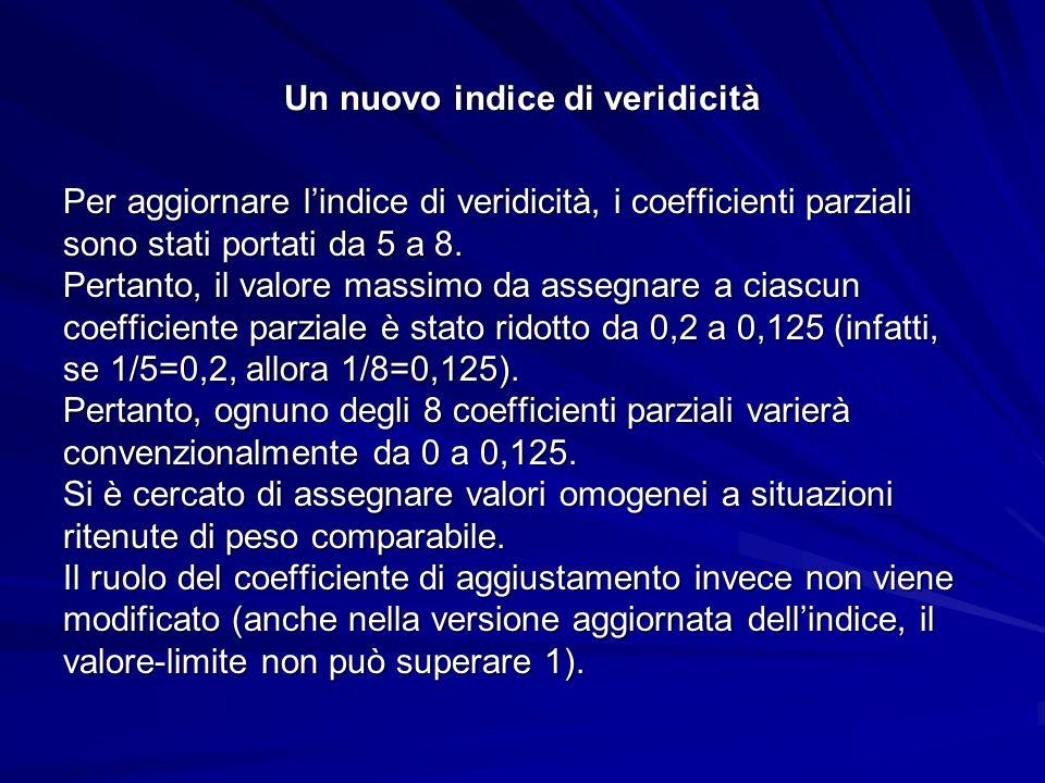 Un nuovo indice di veridicità (tabella aggiornata) A) Numero di testimoni 1 testimone………………………….0 2 testimoni…………………………..0,06 3 testimoni…………………………..0,09 Oltre tre testimoni…………………..0,125.