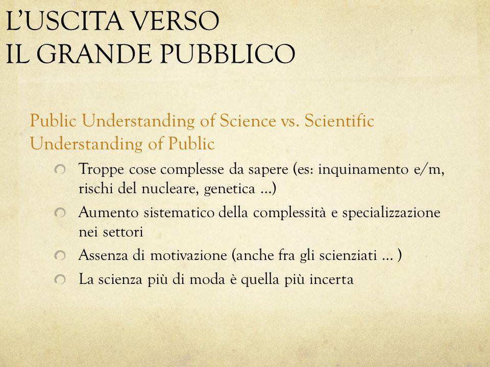 L'USCITA VERSO IL GRANDE PUBBLICO Public Understanding of Science vs. Scientific Understanding of Public Troppe cose complesse da sapere (es: inquinam