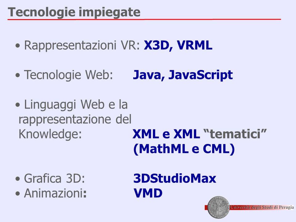 Tecnologie impiegate • Rappresentazioni VR: X3D, VRML • Tecnologie Web: Java, JavaScript • Linguaggi Web e la rappresentazione del Knowledge: XML e XML tematici (MathML e CML) • Grafica 3D: 3DStudioMax • Animazioni: VMD
