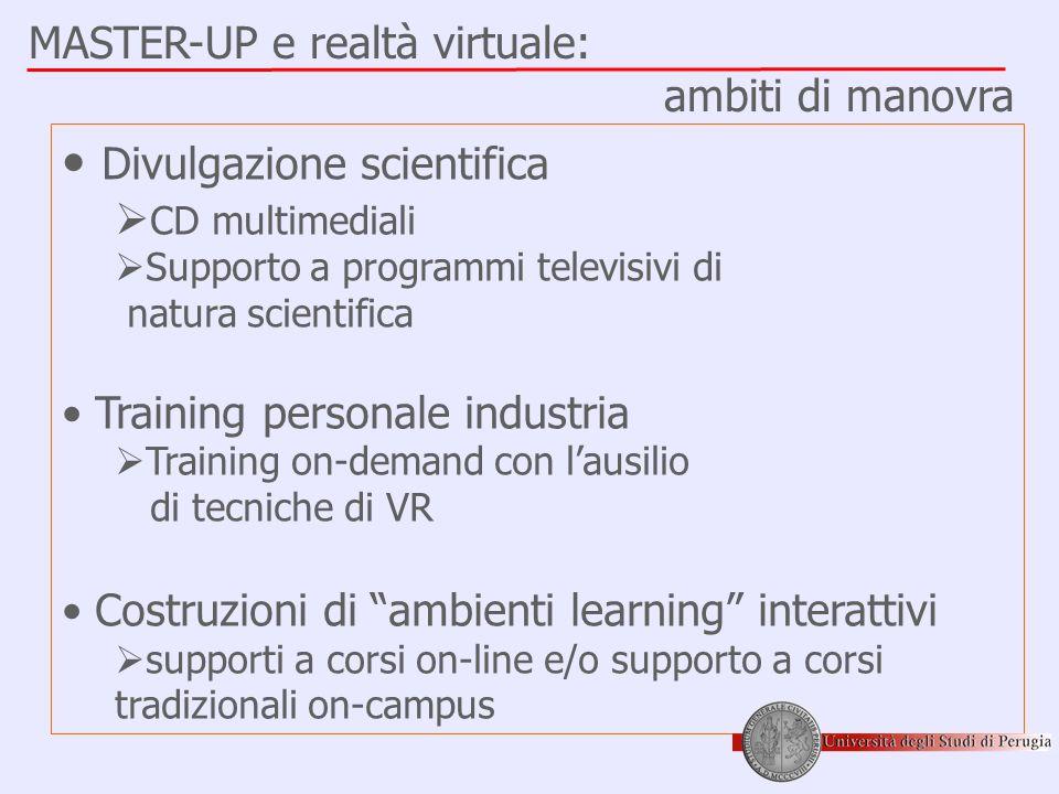 MASTER-UP e realtà virtuale: ambiti di manovra • Divulgazione scientifica  CD multimediali  Supporto a programmi televisivi di natura scientifica •
