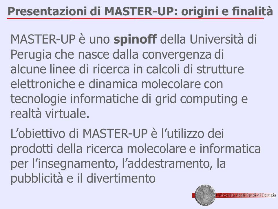 Presentazioni di MASTER-UP: origini e finalità MASTER-UP è uno spinoff della Università di Perugia che nasce dalla convergenza di alcune linee di ricerca in calcoli di strutture elettroniche e dinamica molecolare con tecnologie informatiche di grid computing e realtà virtuale.