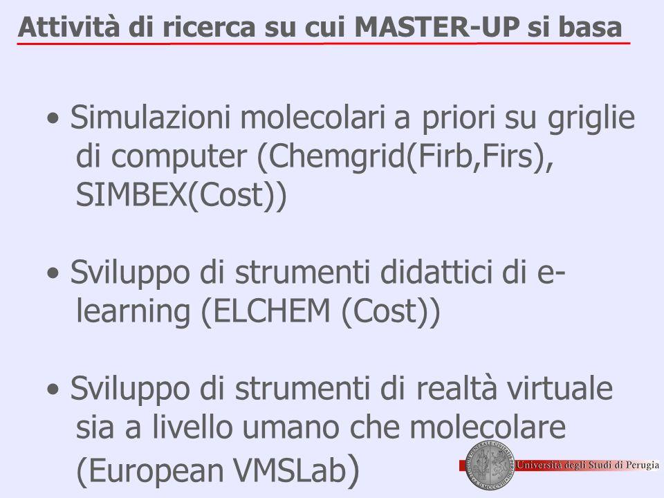 Attività di ricerca su cui MASTER-UP si basa • Simulazioni molecolari a priori su griglie di computer (Chemgrid(Firb,Firs), SIMBEX(Cost)) • Sviluppo di strumenti didattici di e- learning (ELCHEM (Cost)) • Sviluppo di strumenti di realtà virtuale sia a livello umano che molecolare (European VMSLab )