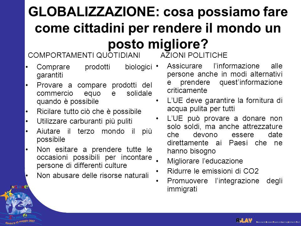 Il ruolo dell'UE e la globalizzazione •I Paesi forti devono aiutare i Paesi deboli.