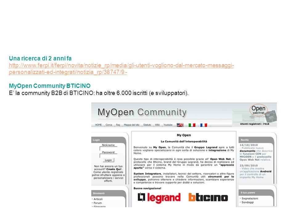 Una ricerca di 2 anni fa http://www.ferpi.it/ferpi/novita/notizie_rp/media/gli-utenti-vogliono-dal-mercato-messaggi- personalizzati-ed-integrati/notizia_rp/38747/9 - MyOpen Community BTICINO E' la community B2B di BTICINO: ha oltre 6.000 iscritti (e sviluppatori).