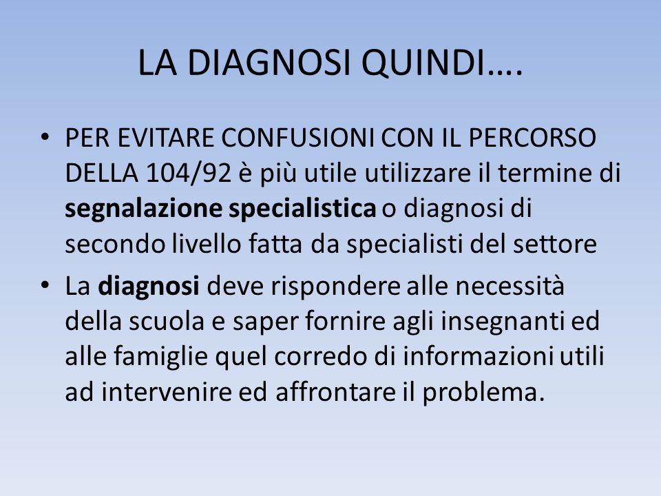 LA DIAGNOSI QUINDI…. • PER EVITARE CONFUSIONI CON IL PERCORSO DELLA 104/92 è più utile utilizzare il termine di segnalazione specialistica o diagnosi