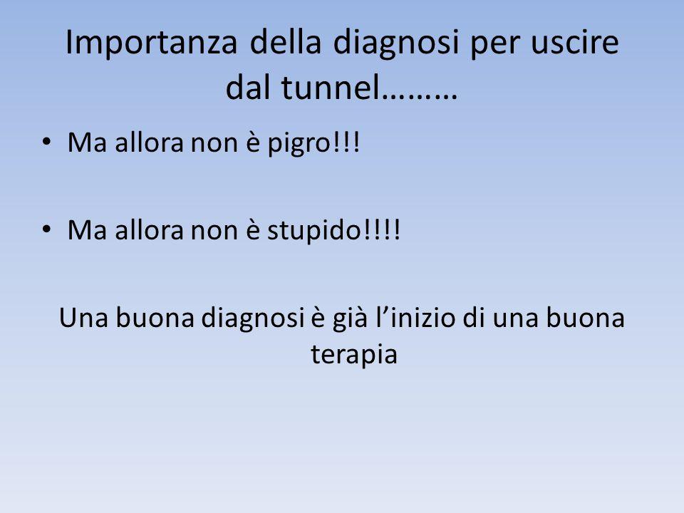 Importanza della diagnosi per uscire dal tunnel……… • Ma allora non è pigro!!! • Ma allora non è stupido!!!! Una buona diagnosi è già l'inizio di una b
