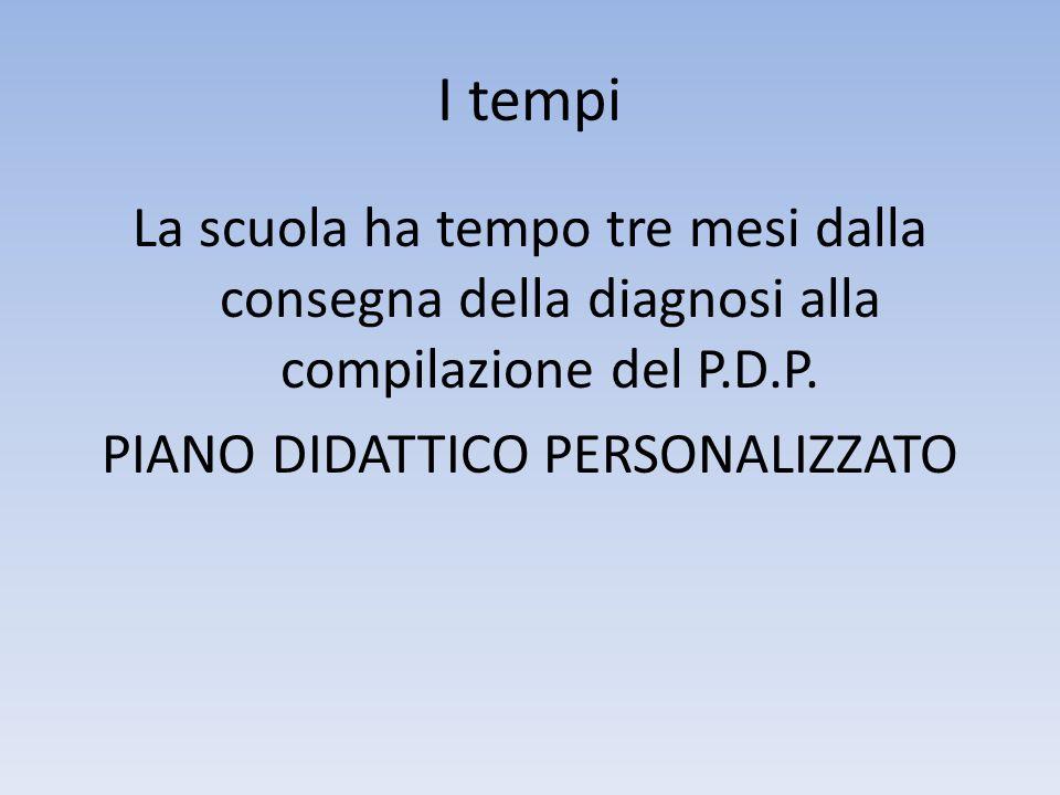 I tempi La scuola ha tempo tre mesi dalla consegna della diagnosi alla compilazione del P.D.P. PIANO DIDATTICO PERSONALIZZATO
