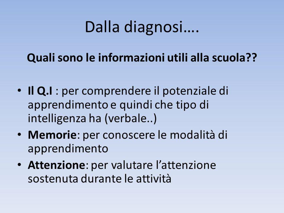 Dalla diagnosi…. Quali sono le informazioni utili alla scuola?? • Il Q.I : per comprendere il potenziale di apprendimento e quindi che tipo di intelli
