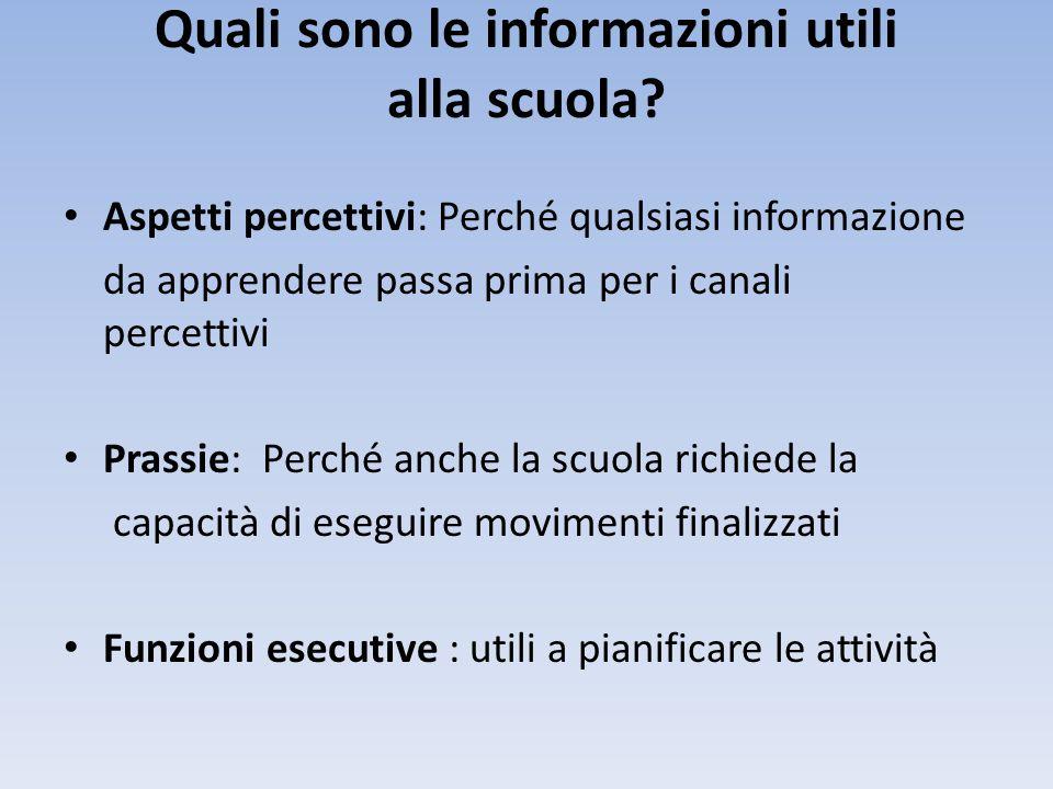 Quali sono le informazioni utili alla scuola? • Aspetti percettivi: Perché qualsiasi informazione da apprendere passa prima per i canali percettivi •