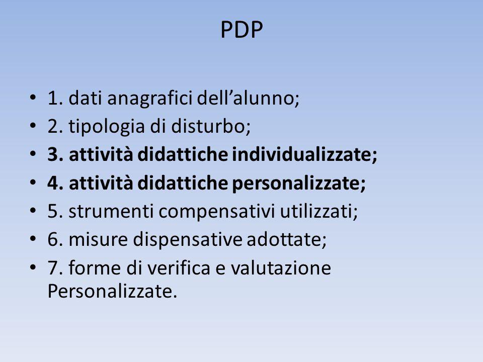 PDP • 1. dati anagrafici dell'alunno; • 2. tipologia di disturbo; • 3. attività didattiche individualizzate; • 4. attività didattiche personalizzate;