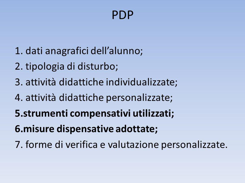 PDP 1. dati anagrafici dell'alunno; 2. tipologia di disturbo; 3. attività didattiche individualizzate; 4. attività didattiche personalizzate; 5.strume