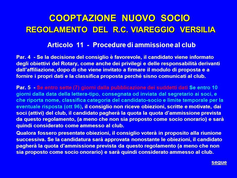 COOPTAZIONE NUOVO SOCIO REGOLAMENTO DEL R.C.
