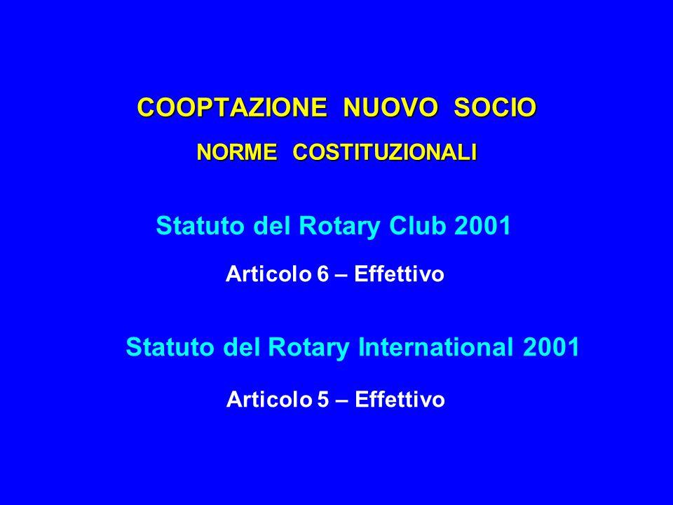 COOPTAZIONE NUOVO SOCIO STATUTO DEL ROTARY CLUB 2001 Articolo 6 – Effettivo Par.