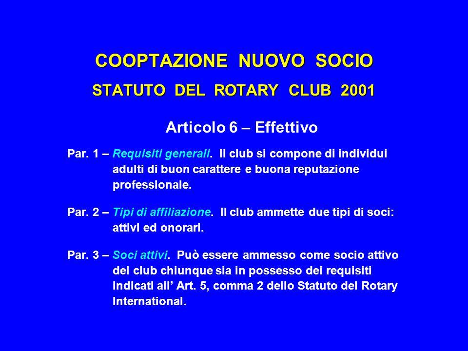 COOPTAZIONE NUOVO SOCIO STATUTO DEL ROTARY INTERNATIONAL 2001 Articolo 5 – Effettivo Par.
