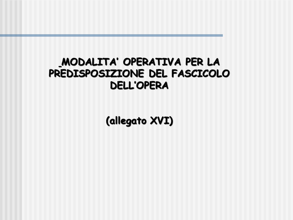 MODALITA' OPERATIVA PER LA PREDISPOSIZIONE DEL FASCICOLO DELL'OPERA MODALITA' OPERATIVA PER LA PREDISPOSIZIONE DEL FASCICOLO DELL'OPERA (allegato XVI)
