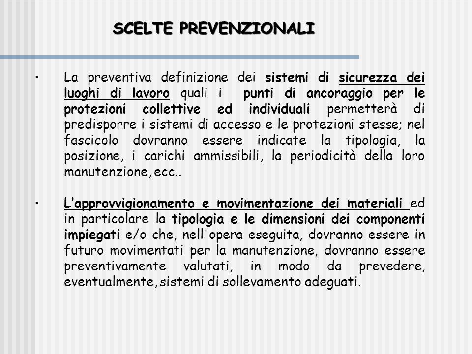 SCELTE PREVENZIONALI •La preventiva definizione dei sistemi di sicurezza dei luoghi di lavoro quali i punti di ancoraggio per le protezioni collettive