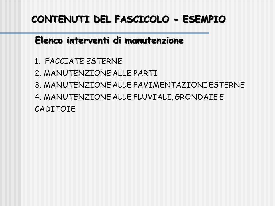 CONTENUTI DEL FASCICOLO - ESEMPIO Elenco interventi di manutenzione 1. FACCIATE ESTERNE 2. MANUTENZIONE ALLE PARTI 3. MANUTENZIONE ALLE PAVIMENTAZIONI