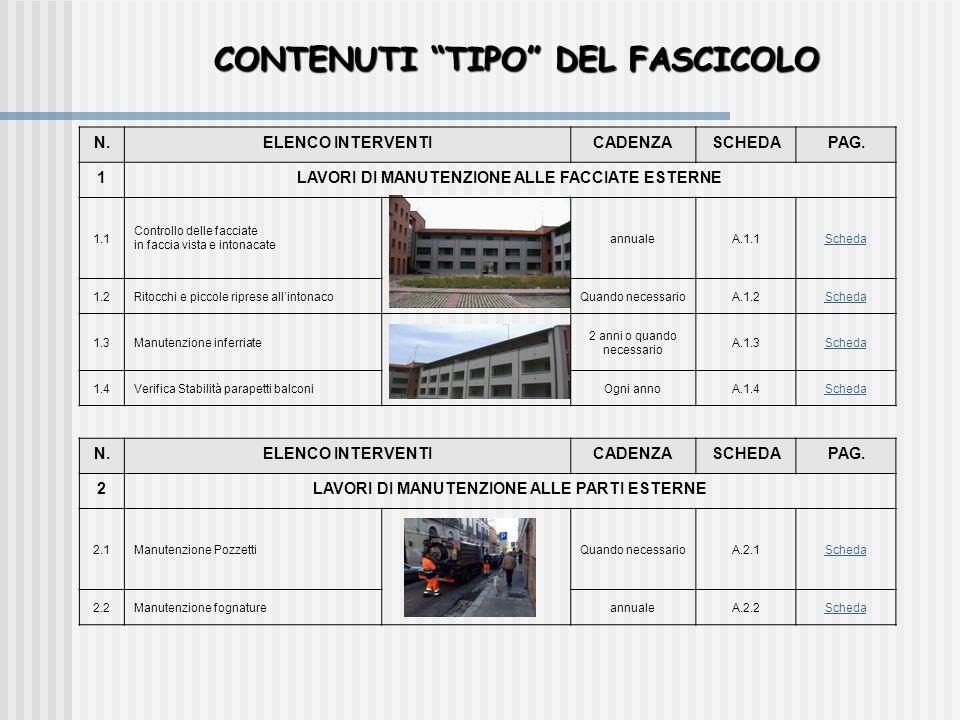 """CONTENUTI """"TIPO"""" DEL FASCICOLO N.ELENCO INTERVENTICADENZASCHEDAPAG. 1LAVORI DI MANUTENZIONE ALLE FACCIATE ESTERNE 1.1 Controllo delle facciate in facc"""