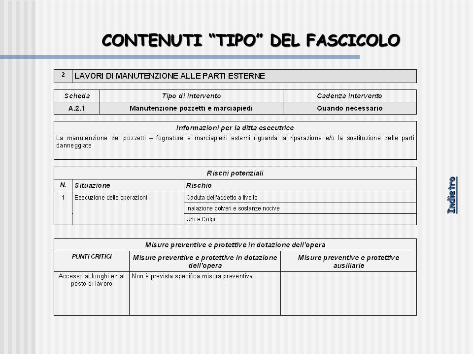 """CONTENUTI """"TIPO"""" DEL FASCICOLO Indietro"""