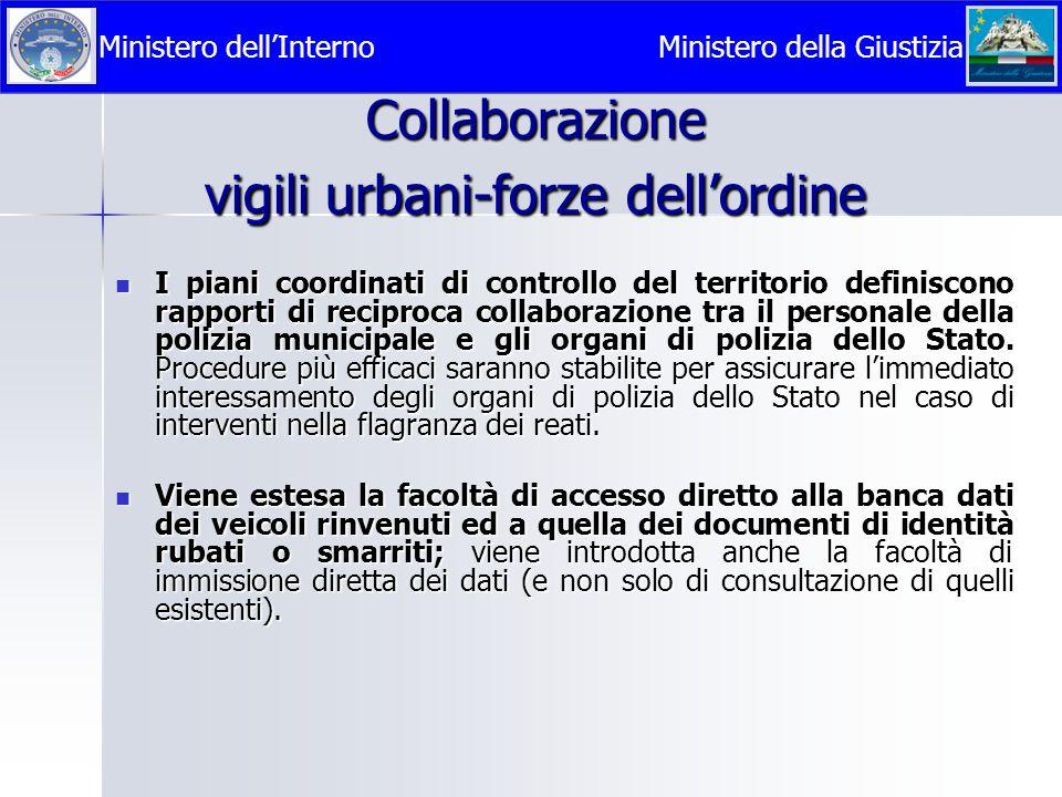 Collaborazione vigili urbani-forze dell'ordine  I piani coordinati di controllo del territorio definiscono rapporti di reciproca collaborazione tra i