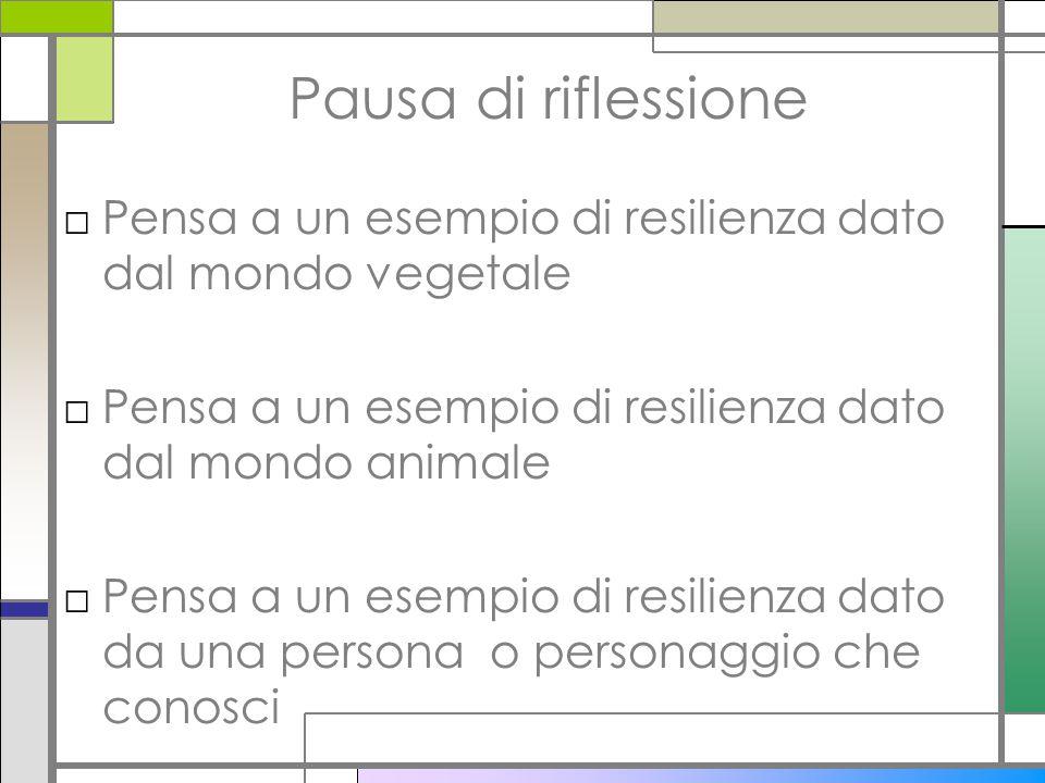 Pausa di riflessione □Pensa a un esempio di resilienza dato dal mondo vegetale □Pensa a un esempio di resilienza dato dal mondo animale □Pensa a un es