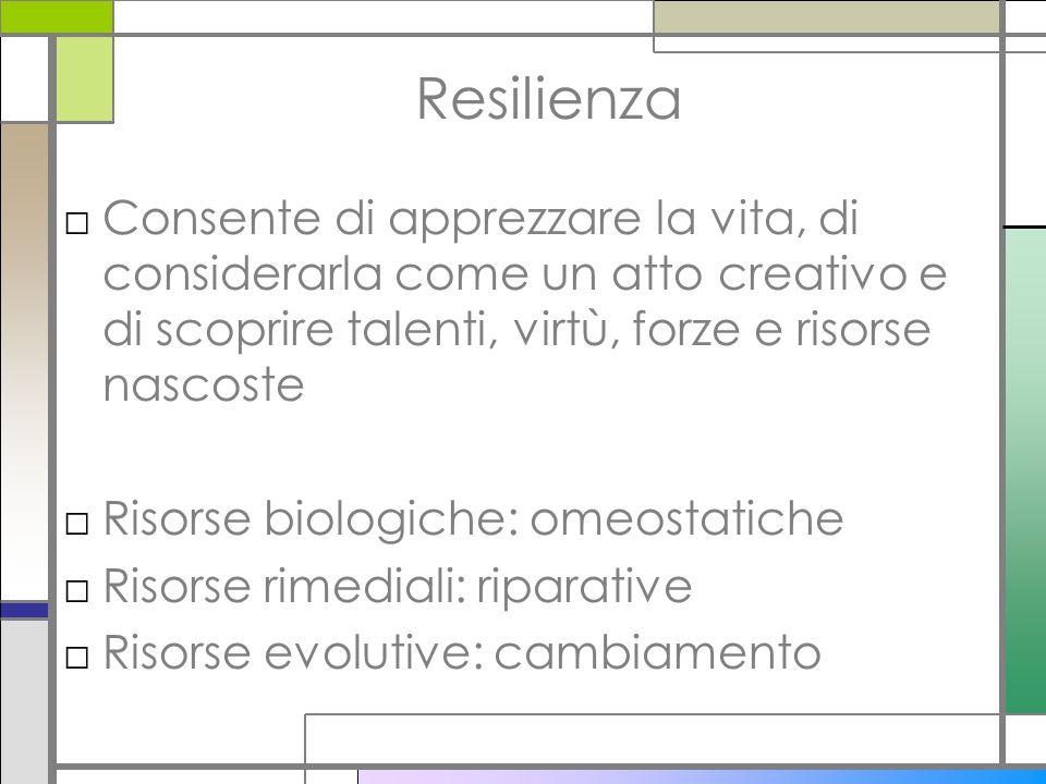 Resilienza □Consente di apprezzare la vita, di considerarla come un atto creativo e di scoprire talenti, virtù, forze e risorse nascoste □Risorse biol