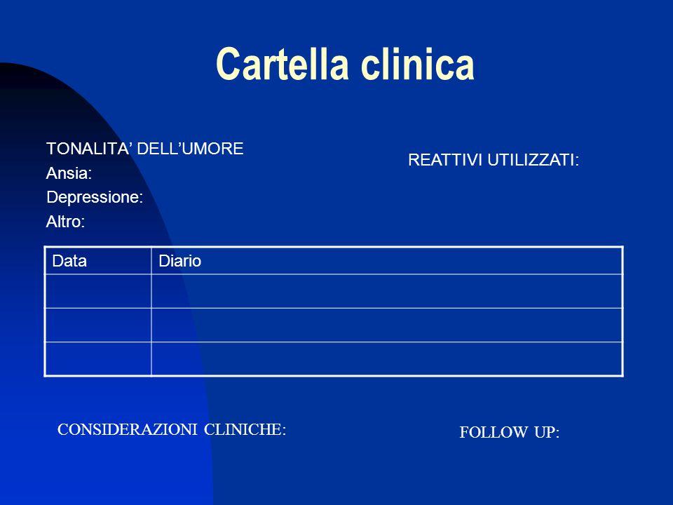 Cartella clinica TONALITA' DELL'UMORE Ansia: Depressione: Altro: DataDiario REATTIVI UTILIZZATI: CONSIDERAZIONI CLINICHE: FOLLOW UP: