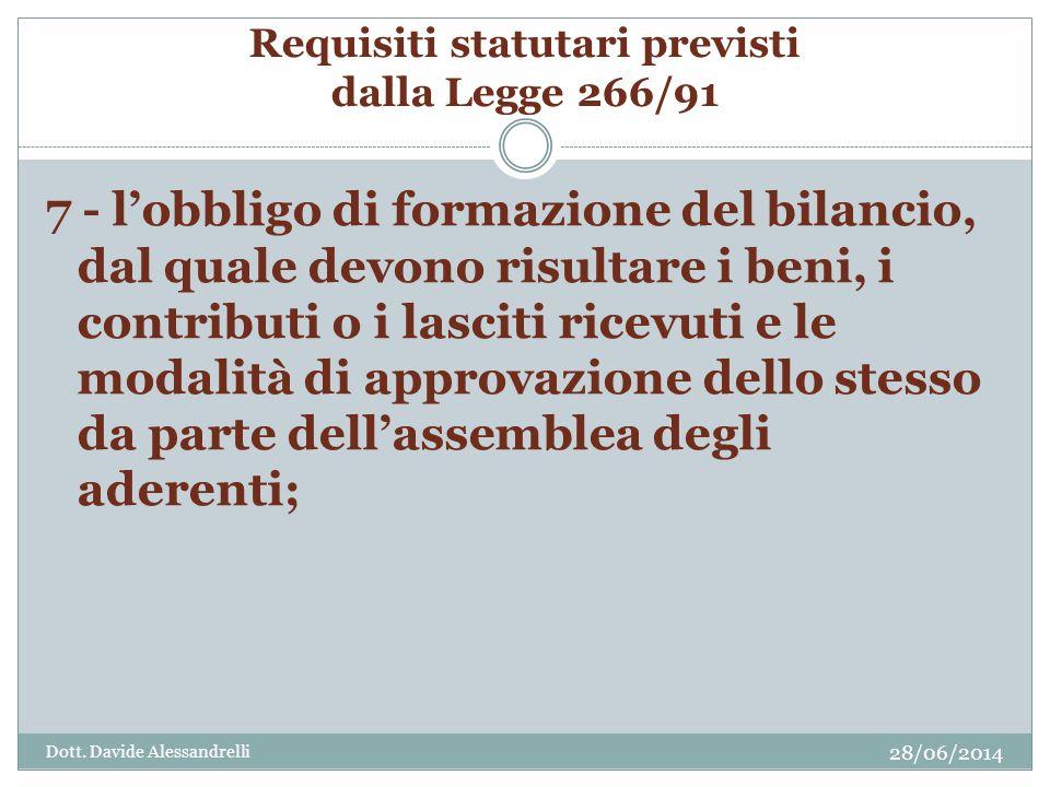 Requisiti statutari previsti dalla Legge 266/91 7 - l'obbligo di formazione del bilancio, dal quale devono risultare i beni, i contributi o i lasciti ricevuti e le modalità di approvazione dello stesso da parte dell'assemblea degli aderenti; Dott.