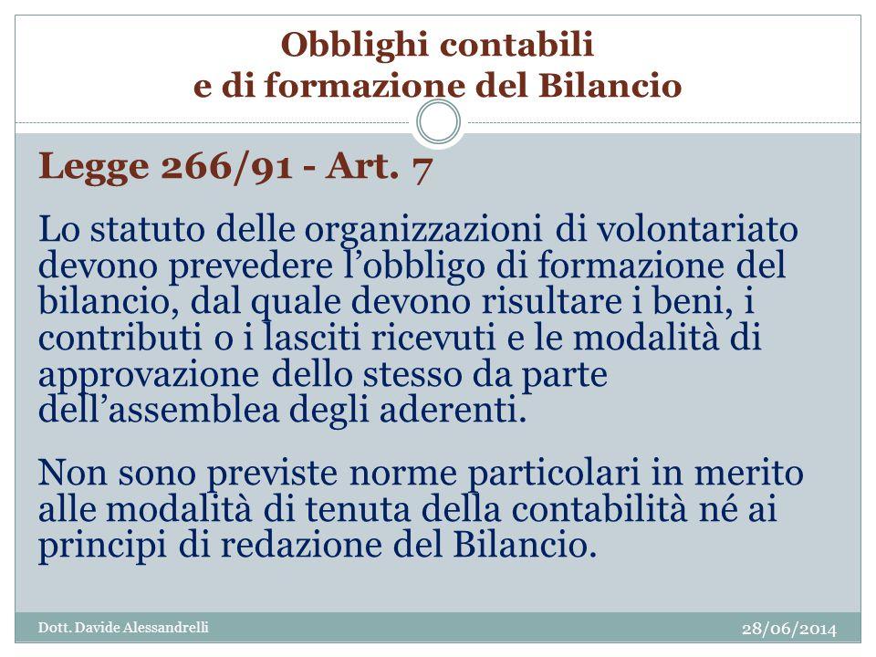 Obblighi contabili e di formazione del Bilancio Legge 266/91 - Art.