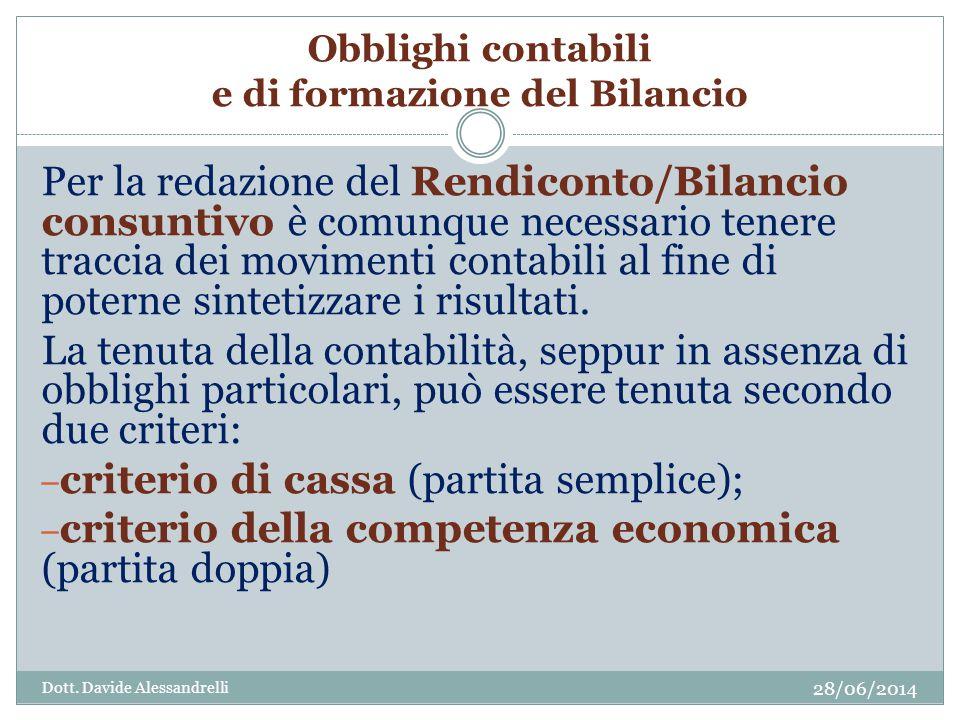 Obblighi contabili e di formazione del Bilancio Per la redazione del Rendiconto/Bilancio consuntivo è comunque necessario tenere traccia dei movimenti contabili al fine di poterne sintetizzare i risultati.