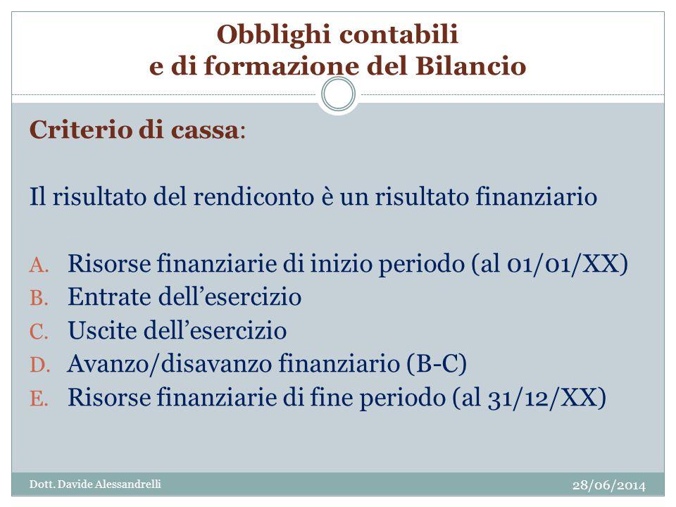 Obblighi contabili e di formazione del Bilancio Criterio di cassa: Il risultato del rendiconto è un risultato finanziario A.