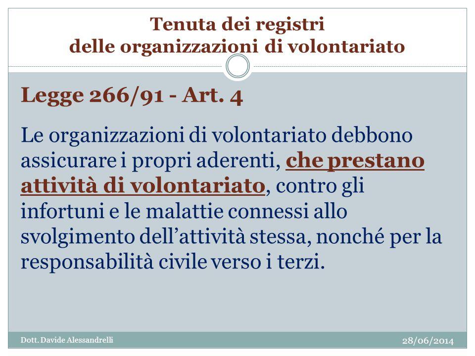 Tenuta dei registri delle organizzazioni di volontariato Legge 266/91 - Art.