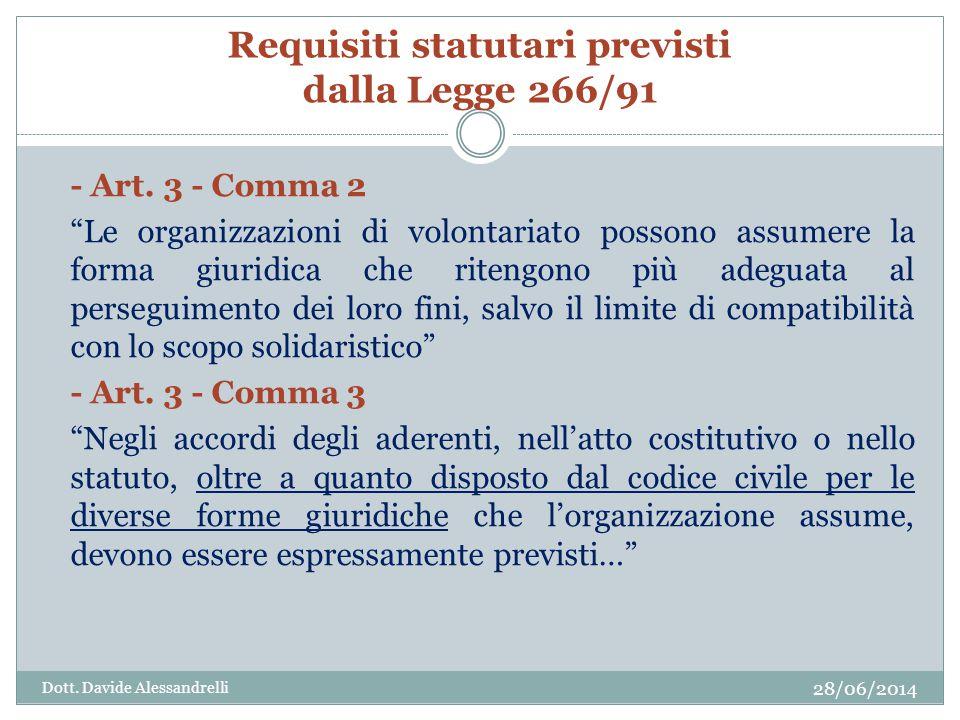 Requisiti statutari previsti dalla Legge 266/91 - Art.