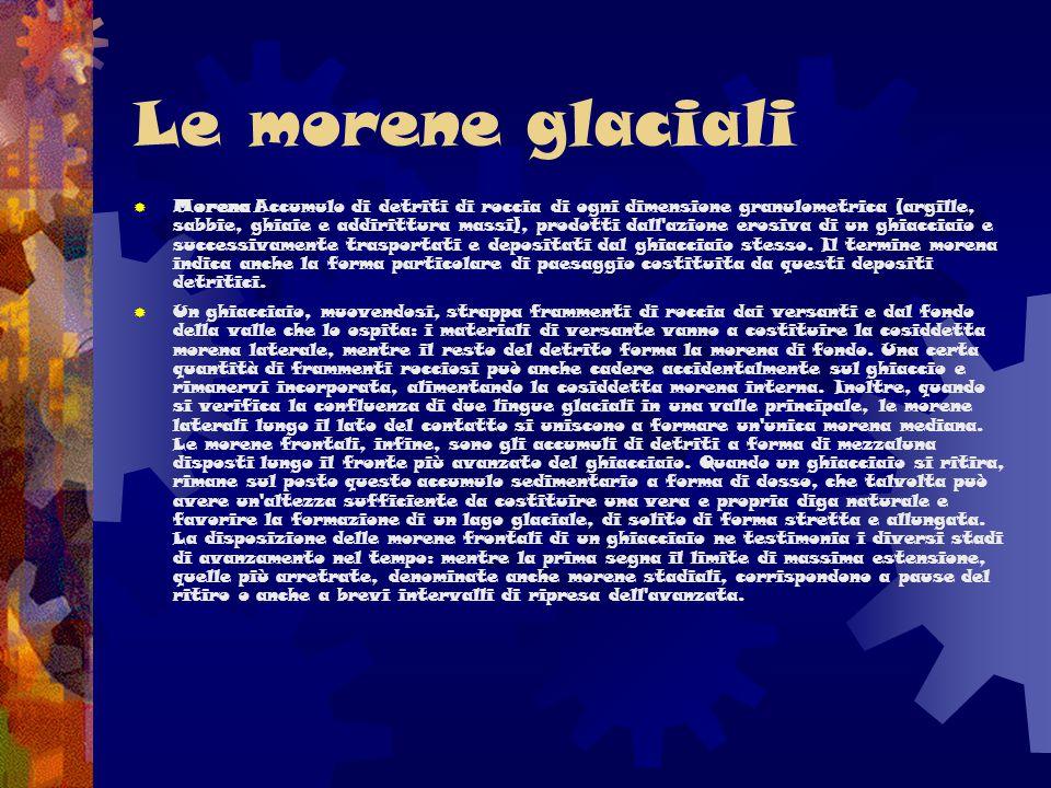 Le morene glaciali  Morena Accumulo di detriti di roccia di ogni dimensione granulometrica (argille, sabbie, ghiaie e addirittura massi), prodotti da