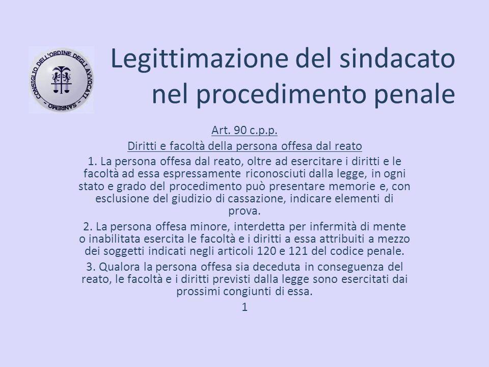 Legittimazione del sindacato nel procedimento penale Art. 90 c.p.p. Diritti e facoltà della persona offesa dal reato 1. La persona offesa dal reato, o