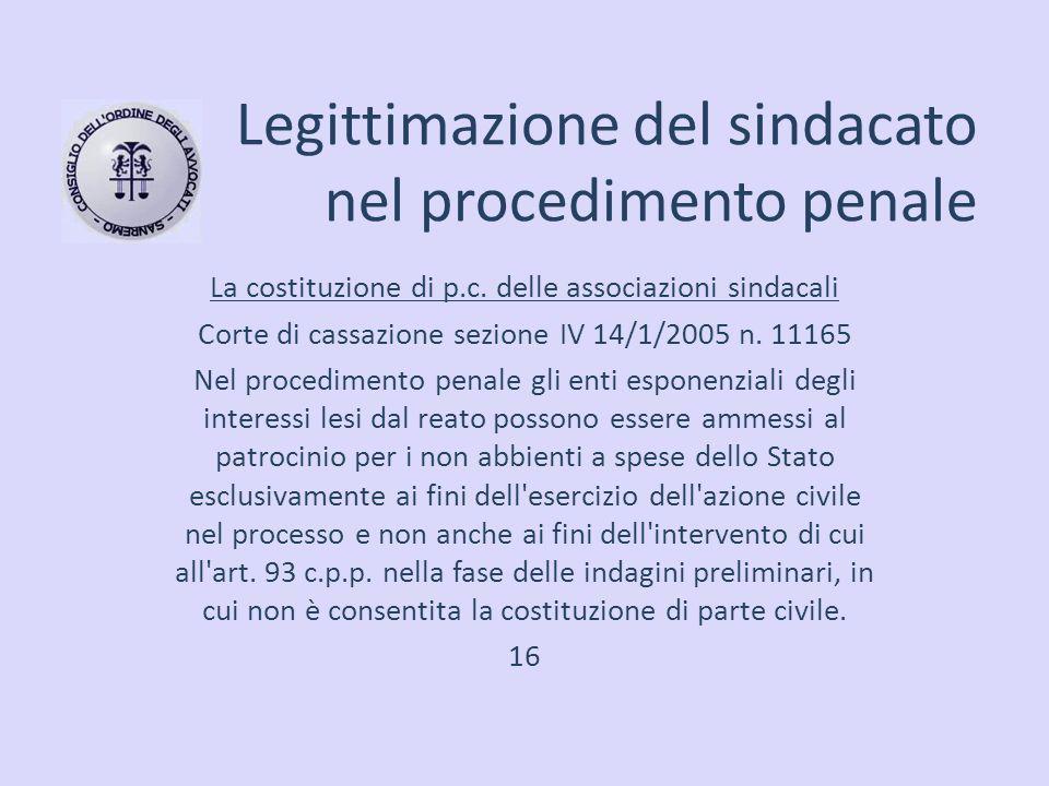 Legittimazione del sindacato nel procedimento penale La costituzione di p.c. delle associazioni sindacali Corte di cassazione sezione IV 14/1/2005 n.