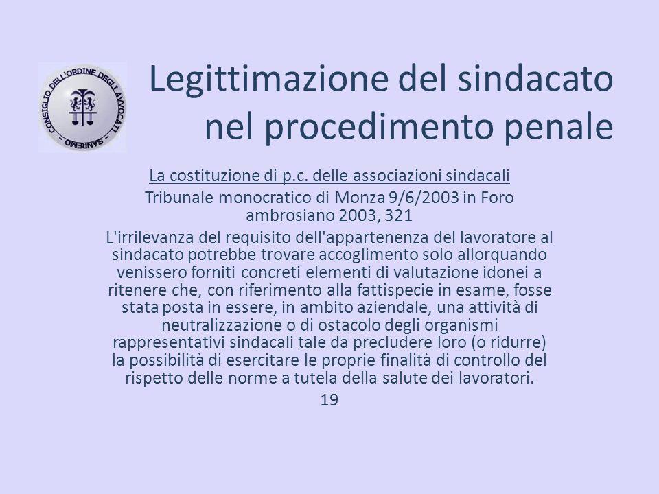 Legittimazione del sindacato nel procedimento penale La costituzione di p.c. delle associazioni sindacali Tribunale monocratico di Monza 9/6/2003 in F